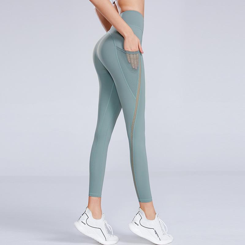 Сплошные цвета женские йоги брюки высокие талии спортивный тренажерный зал носить леггинсы упругие фитнес леди общие полные колготки тренировки брюки 10 шт. T1i3026