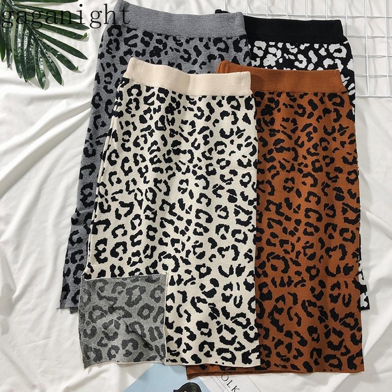 Gaganight вязаный леопардовый карандаш юбка женщины осень зима теплые сексуальные сплит женские юбки женский винтаж тонкий bodycon long y200326