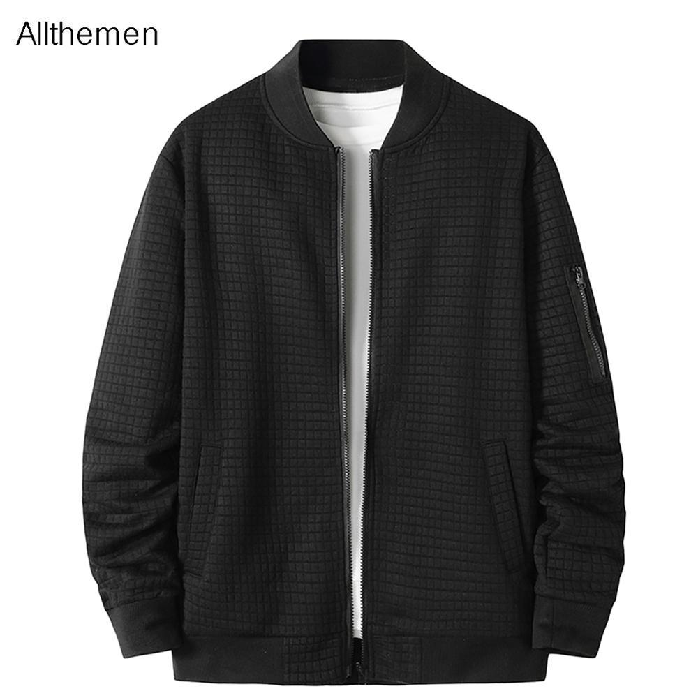 Jaqueta masculina de allstemen 2020 jaqueta de outono masculina cor sólida verifique o carrinho casaco novo casual quente grosso À prova d'água OutwearX1121