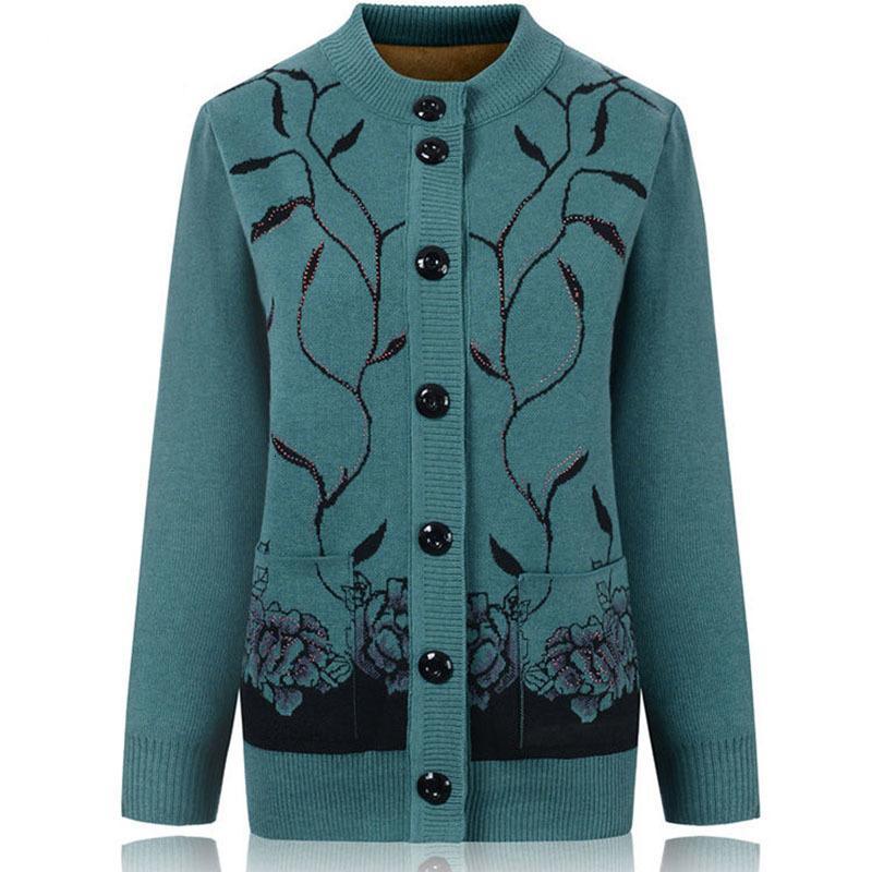 Camisetas de mediana edad y ancianos camisas de cardigan suéter de invierno de punto, chaqueta de talla grande de punto de un solo pecho, Top R445 UF0S