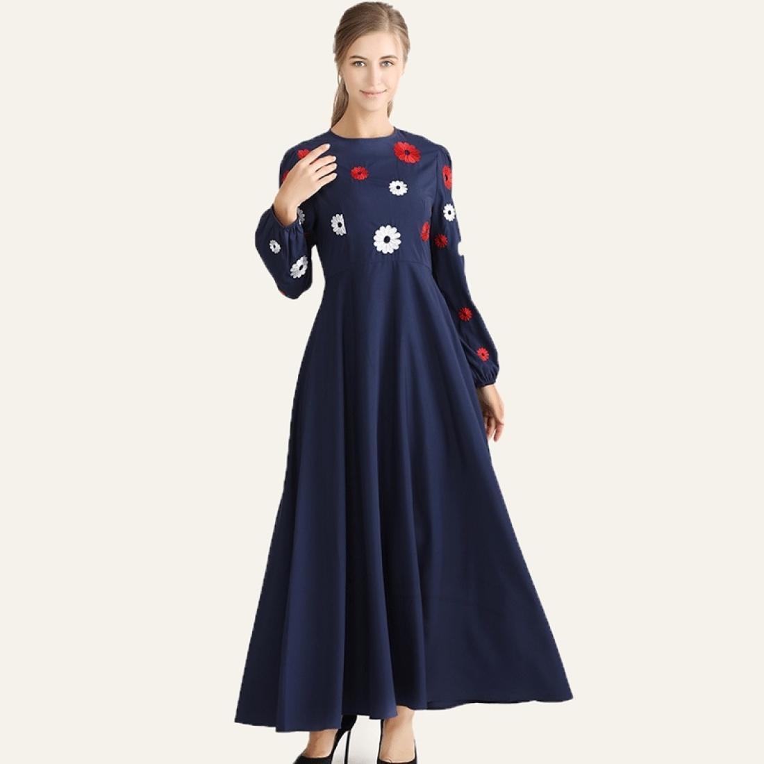 Вышитое тонкое тонкое ретро платье