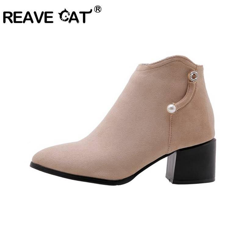 Reave Katze Schuhe Frauen Knöchelstiefel Zeige Zehe Wildleder Side Reißverschluss Perle Nude Block Ferse Arbeit Botas Mujer Große Größe 34-48