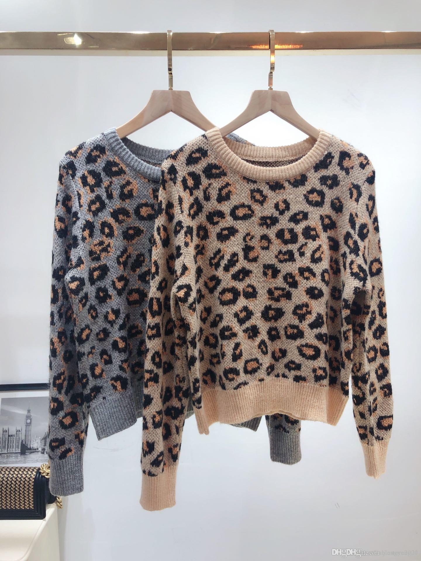 Estación europea 2020 otoño / invierno nueva versión europea de Joker suelta web celebridad estilo perezoso suéter grueso leopardo estampado suéter mujeres