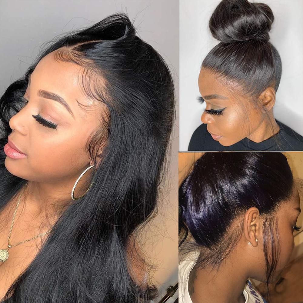 360 Tam Dantel Peruk İnsan Saç Ön Plukke Siyah Kadınlar Için Brezilyalı Düz Dantel Ön İnsan Saç Peruk HD 360 Dantel Frontal Peruk HD