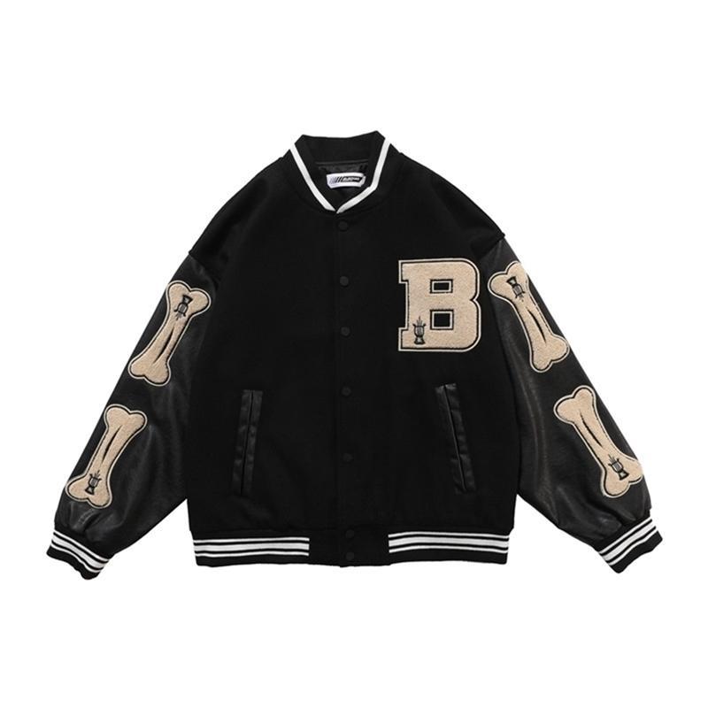 Hip Hop Jaqueta de Beisebol Homens Furry Bone Carta Remendo Cor De Couro De Couro Estilo Estilo Streetwear Harajuku Bomber Jaqueta Casaco 201218