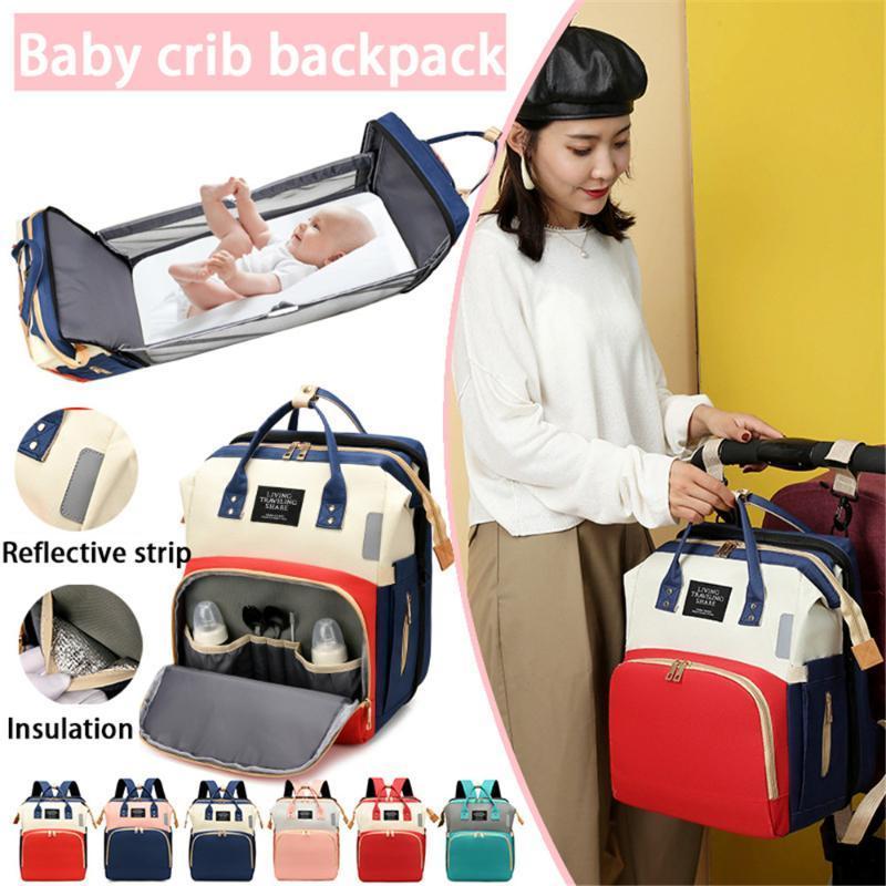 Сумки подгузника складной кровать рюкзак мама портативный детская кроватка мешок путешествия большие карманы рюкзаки родильные коляски
