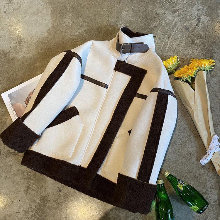 Men's and Damen Casual Mode Nähen Kontrastfarbe Revers Plus Samt Motorradjacke Warme Jacke Freies Verschiffen