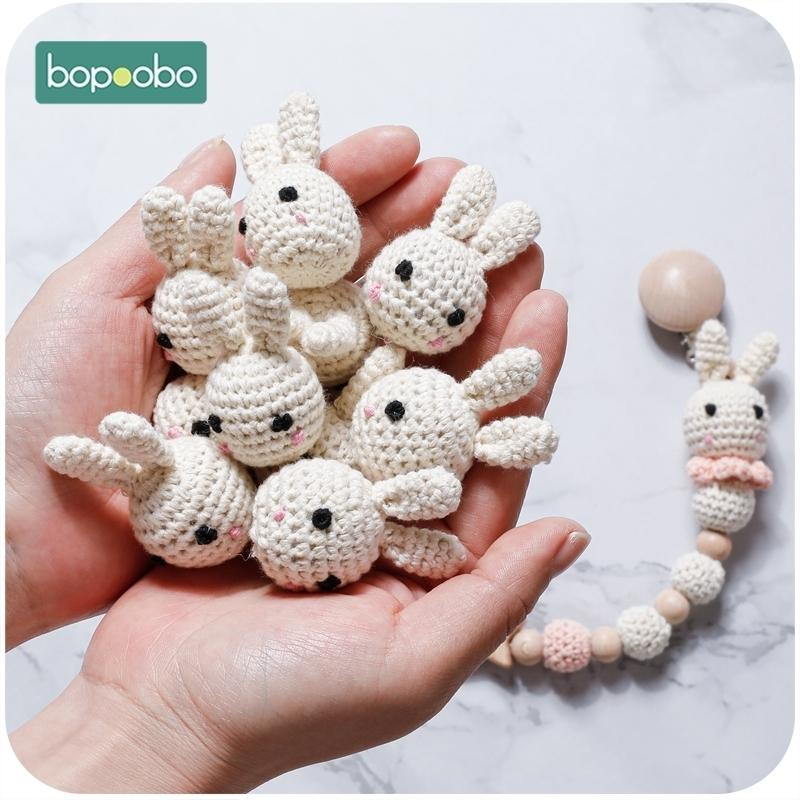 Bopoobo 10pc Food Grade Bunny Teether Crochet Beads For Dummy Pacifier Clip DIY Wood Jewelry Making For Teeth Baby Product 201123