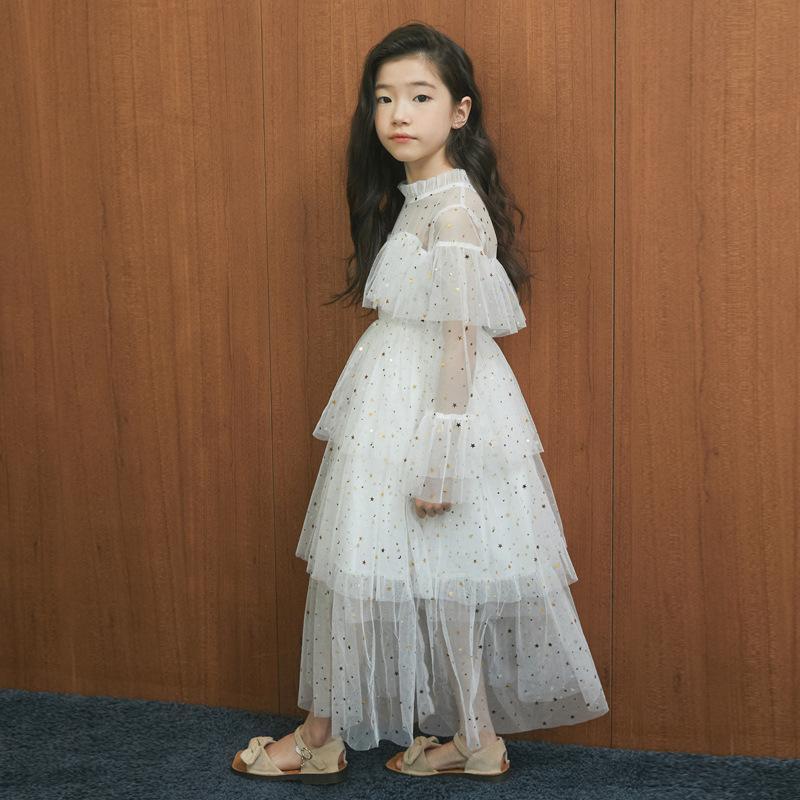 4 a 16 años de Nueva Primavera 2021 Stars Lentejuelas niñas del bebé del vestido del cordón de la princesa de la madre y la hija ropa bonita, # 3995 Q1118 Q1118