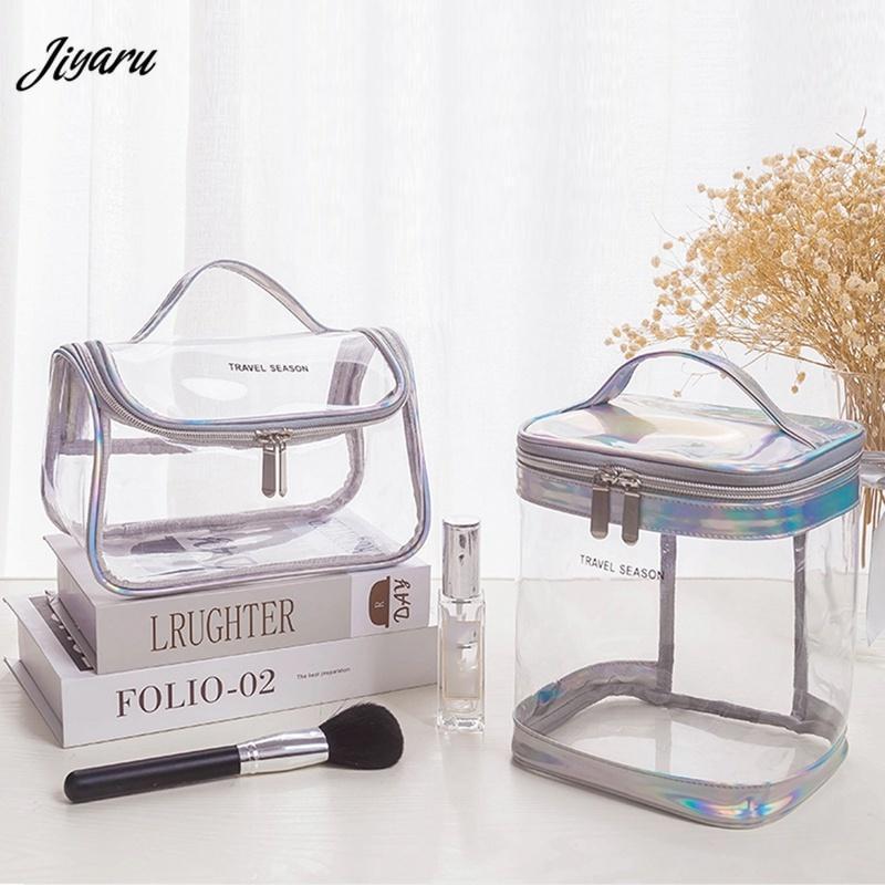 Nuevo PVC Cosmetic Bag Impermeable Maquillaje Caja de maquillaje Mujeres Bolsa de maquillaje Claro Lavado Organizador Baño Bolsos de aseo