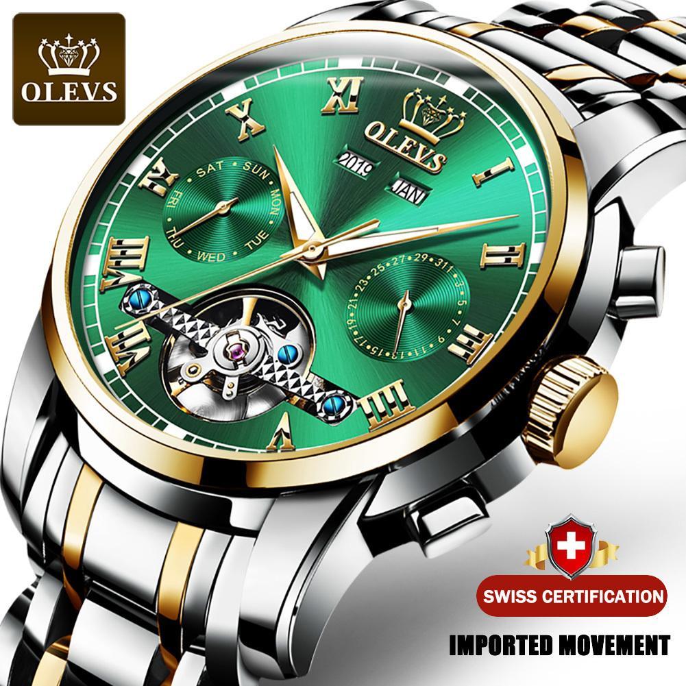 OLEVS mecánico automático relojes de los hombres de acero inoxidable resistente al agua Fecha de la Semana Verde Fashio clásico de los relojes Reloj Hombre Q1118
