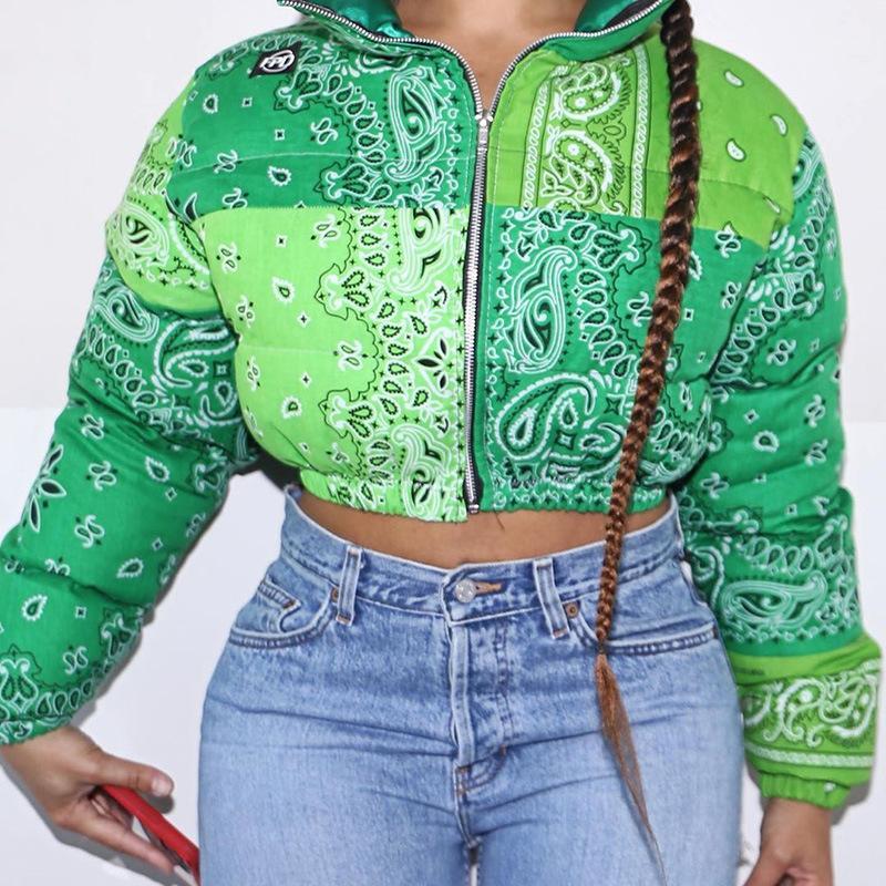 Mode Bandana Jacke Puffer Wintermantel für Frauen Warme Parkas Streetwear Cropped Jacken Outwear Verdicken Blase Mantel