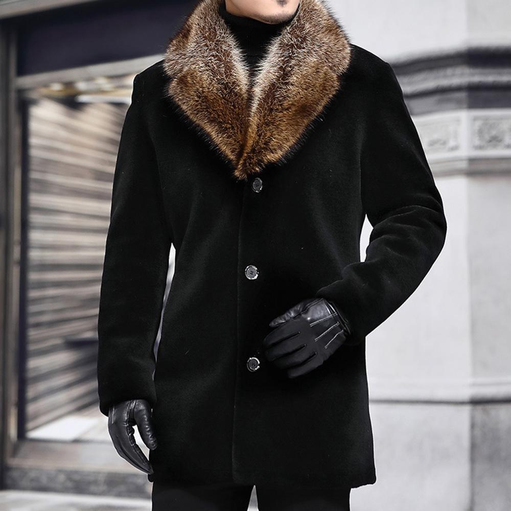 Зимние мужчины Длинные пальто шерстяные смеси из искусственного меха воротника черный теплый мужской тонкий повседневная ветровка куртка осень траншеи