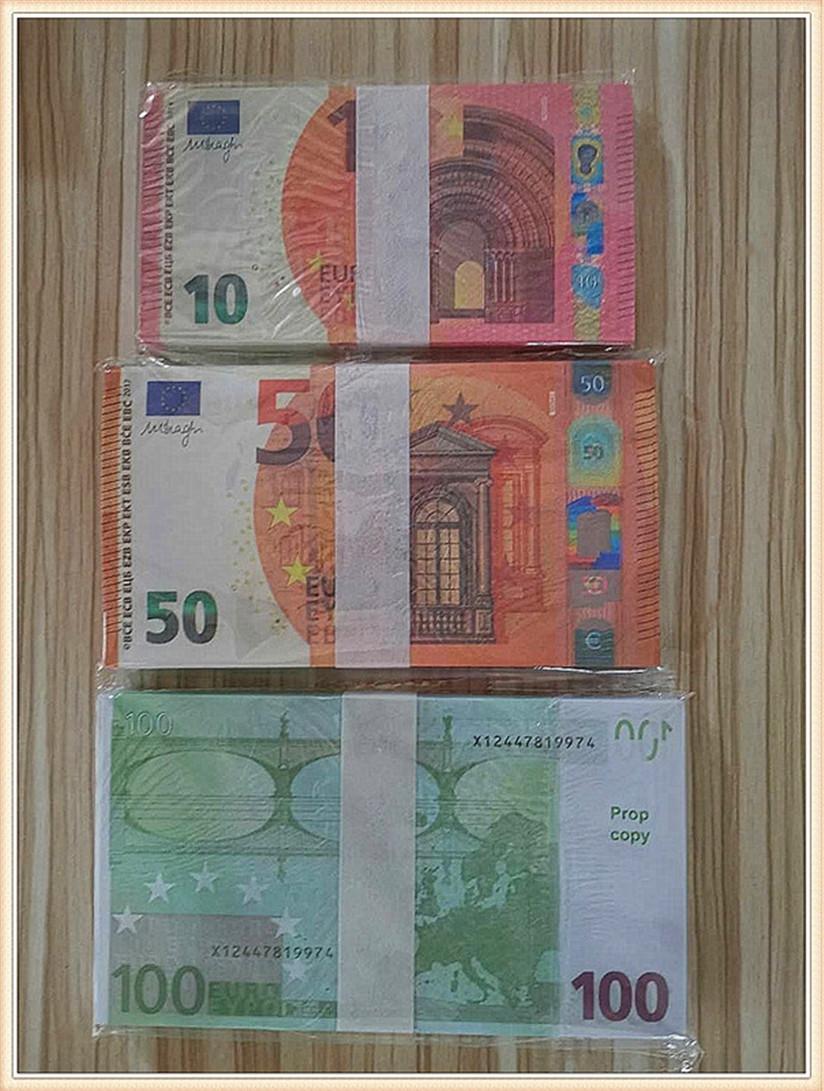2020 Vente chaude Moderne Argent Euro 5/10/20/50 Copier de papier Banknote PROP ARGENT EURO 100 PCS / PACK 34