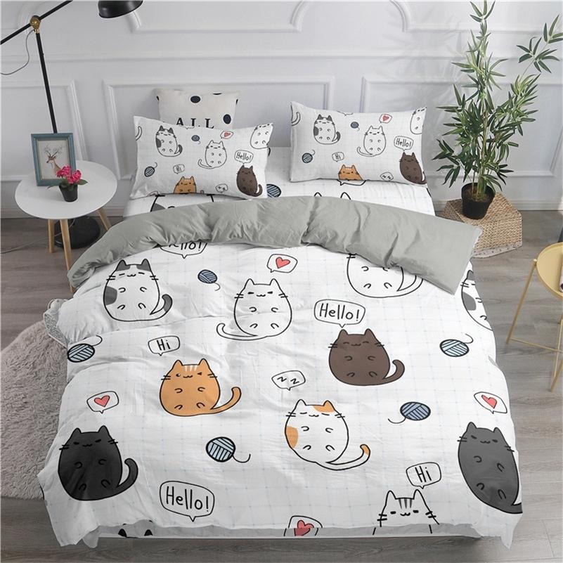 Zeimon мультфильм постельное белье набор милые кошки напечатаны 3D одеяла крышка набор двойной полная королева король король двойные размеры наволочки постельное белье LJ201127