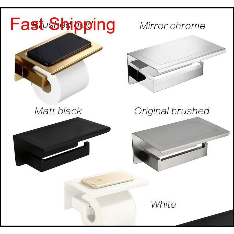 Mathed Gold SUS304 Держатель туалетной бумаги с полкой для ванной комнаты для ванной комнаты для ванной комнаты. Держатель ткани Черный / CH QYLWNC BDesports