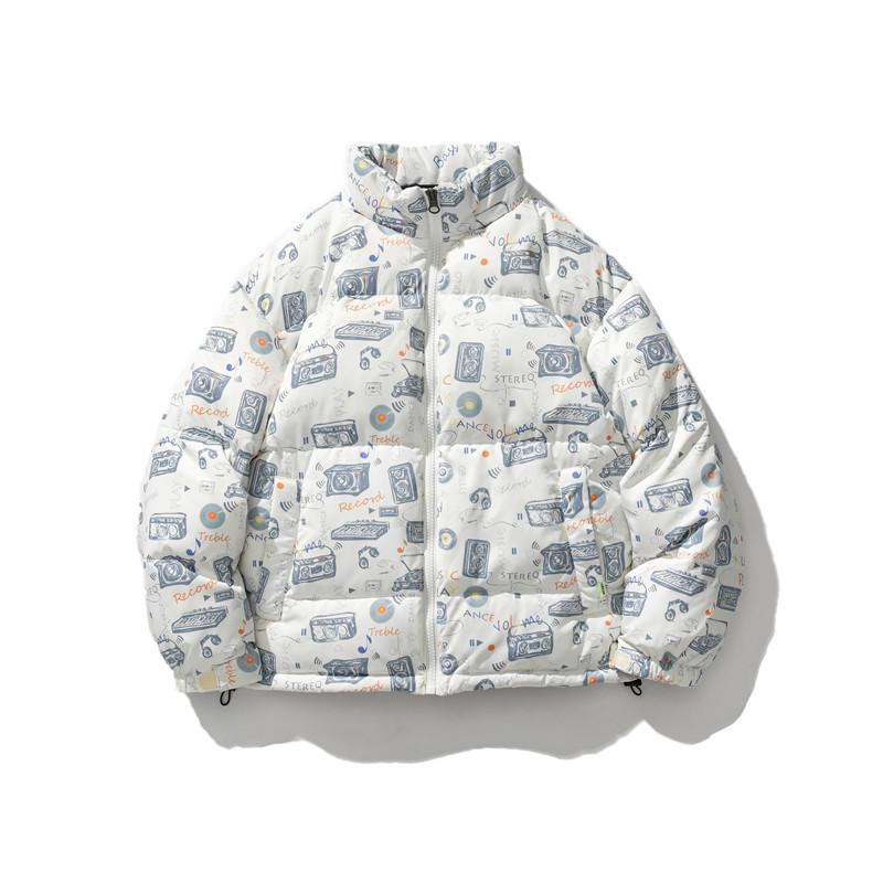 Japanese fashion printed white duck down down down jacket with thickened warm stand collar casual coat