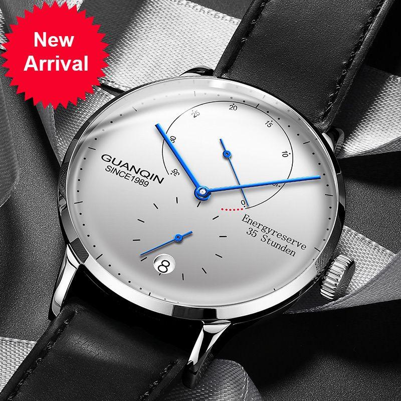 Guanqin Mens Montres Top Marque Prestige Automatique Automatique Hommes Casual Horloge Horloge de mode étanche Cuir Véritable Véritable Montre-Bracelet mécanique