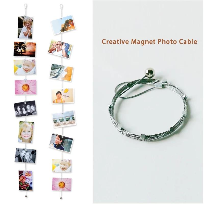 1.5M Magnetic Cable Photo Frame Buckle Anniversary Easter Wall Art Hanging Banner Photo Rope Picture String Home Decorations