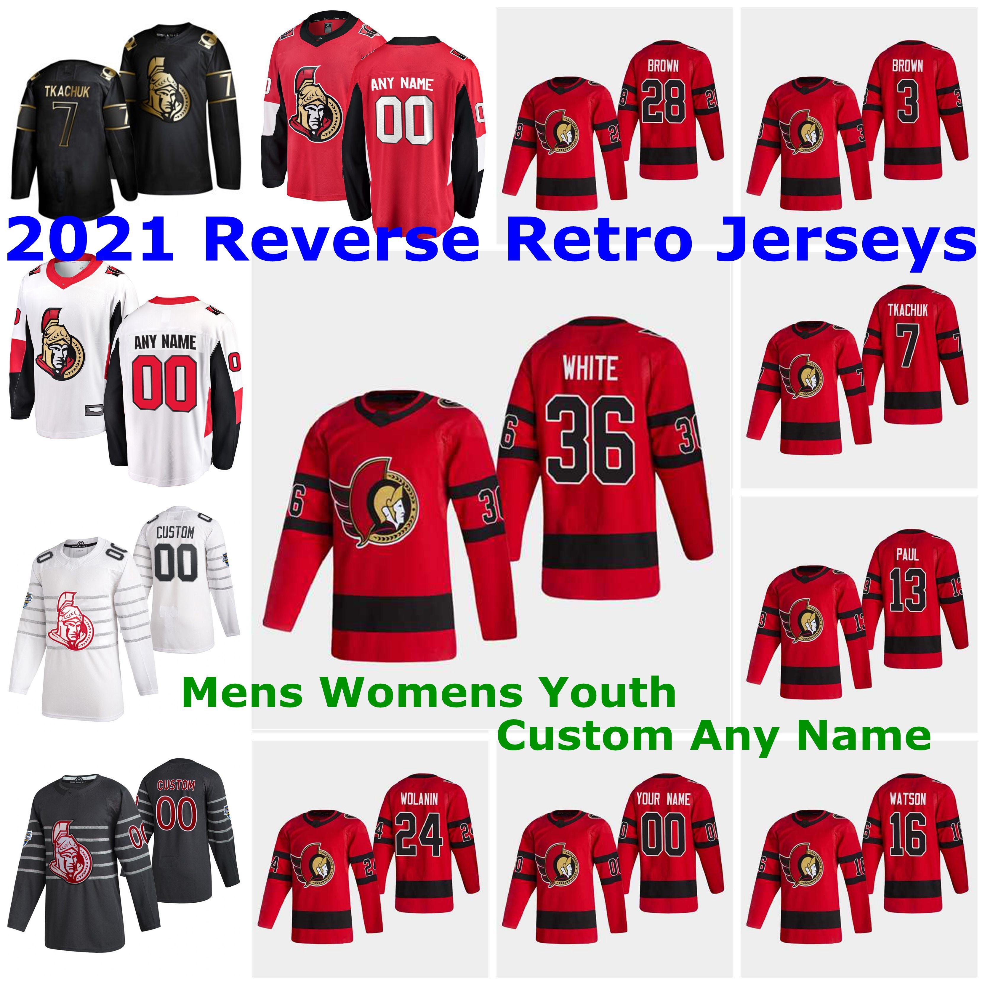Ottawa Senators 2021 Reverse Retro Jerseys 16 Austin Watson Jersey Erik Gudbranson Matt Murray Josh Brown Brady Tkachuk Mens Custom Stitched