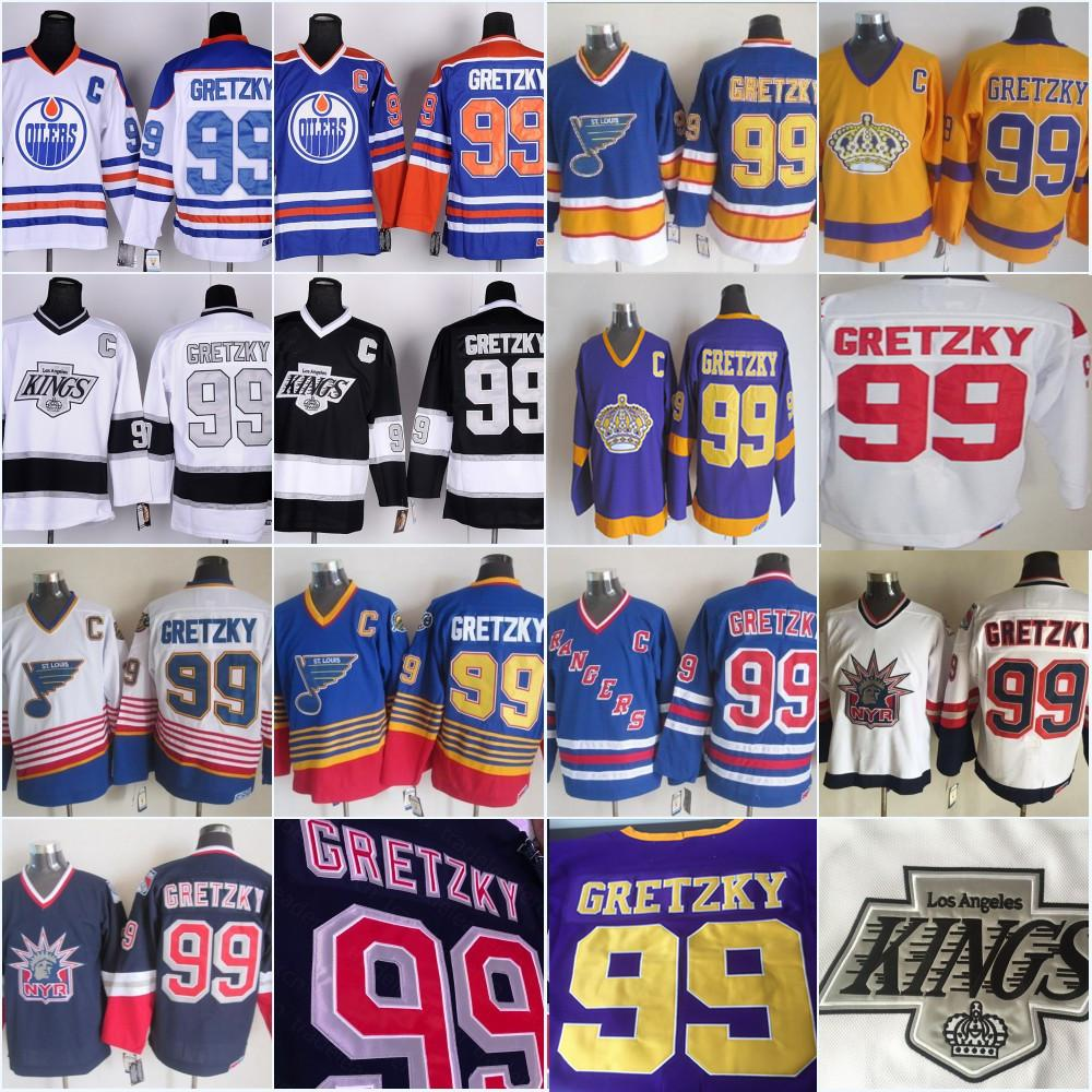 خمر 99 وين Gretzky Los Angeles Kings Edmonton Oliers St. Louis Blues New York Rangers La Black Blue Purple White Hockey Jelsys