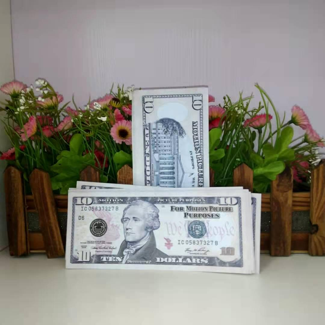 2020 hot sale 10 Dollar bill prop simulation dollar bill prop film prop bar atmosphere coin counterfeit money toy 006