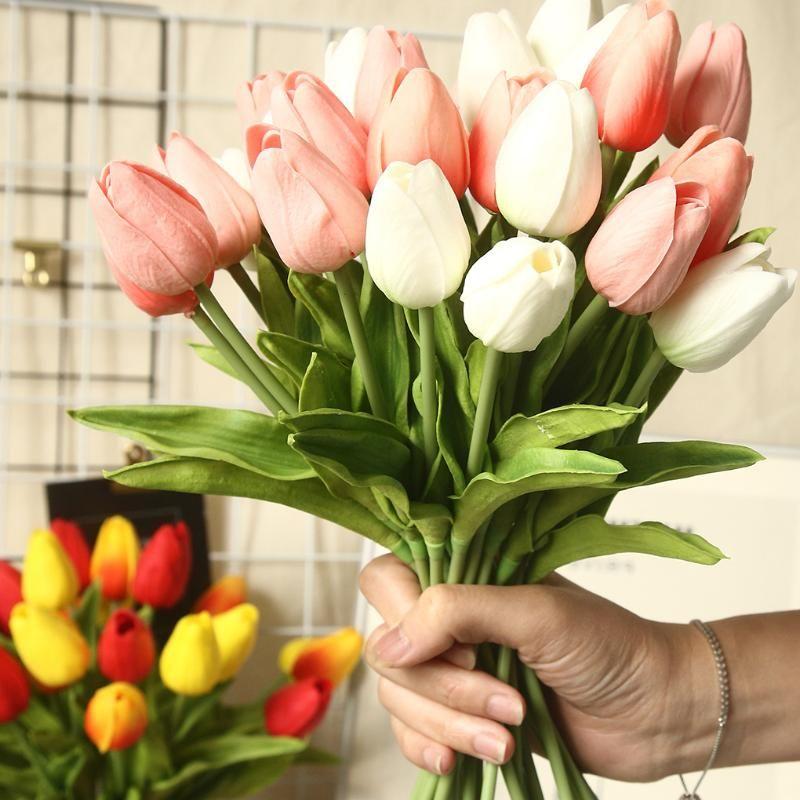 1 stücke / 5 stücke Tulpe künstliche blume echte touch künstliche blumenstrauß gefälschte blume für hochzeit dekoration blumen hause stecken dekor