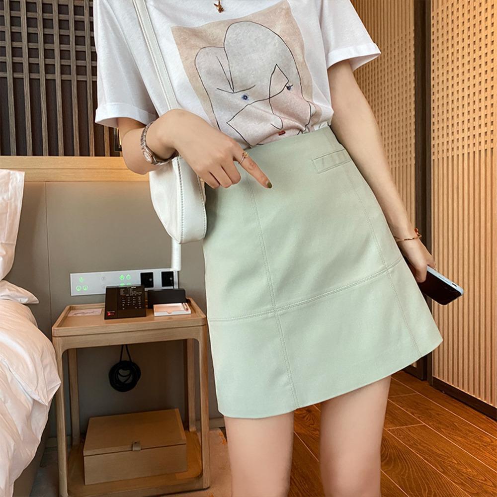 Мишоу 2020 летние новые юбки женщины мода a-line высокая талия твердая мини юбка офис леди mx20b1664 q1211