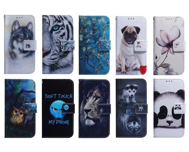 Кожаный кошелек для iPhone 12 11 Pro Max Samsung S20 Ultra A51 A71 5G A20S A10S Аминальный цветок Лев Панда Собака Волк Тигр ID Флип