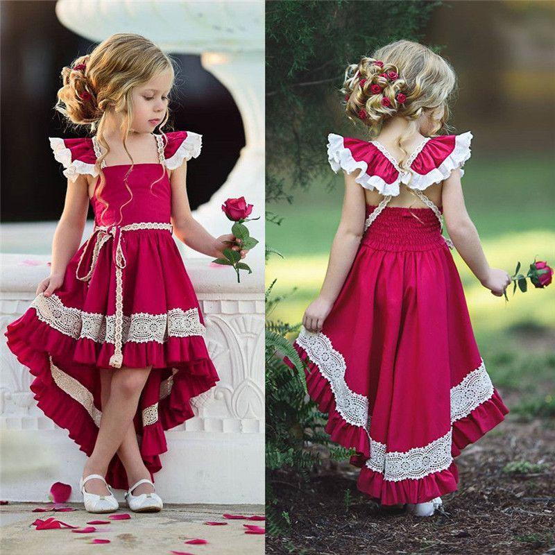 Pudcoco Kleinkind Kinder Mädchen Rüschen Spitze Kleid Sleevels Abend Party Pageant Kleid Baby Girl Pageant Kleid Vestidos Heißer Verkauf Y1130