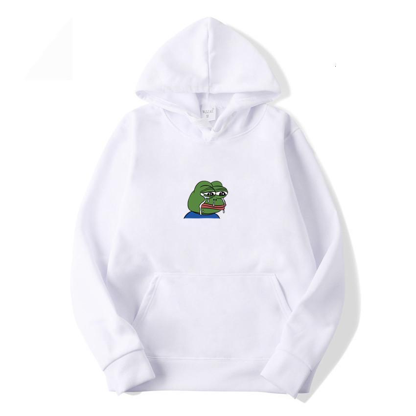 2021 Man Woman Sweatshirt Funny Graffiti Print Sad Frog Hoodies Fashion Men Women Hip Hop Fleece Yellow Pink Hooded