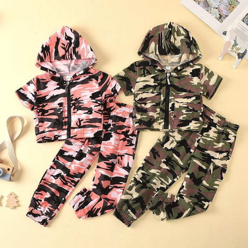Baby Boy Clothes Clothing Set Short Sleeve Camouflage Hooded Pants 2 pcs Fashion Infants Wear Summer Suit Outfits