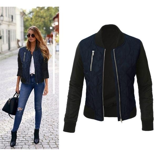 Осень зимний досуг мода твердой куртки O-шеи молнию шитья стеганый бомбардировщик 2019 новые женщины пальто Q1119