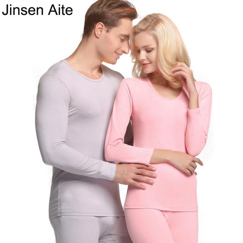Jinsen Aite Yeni Kış Sonbahar Çift Uzun Johns Moda Esneklik Dibe Kadınlar ve Adam Termal Underwears Setleri JS45