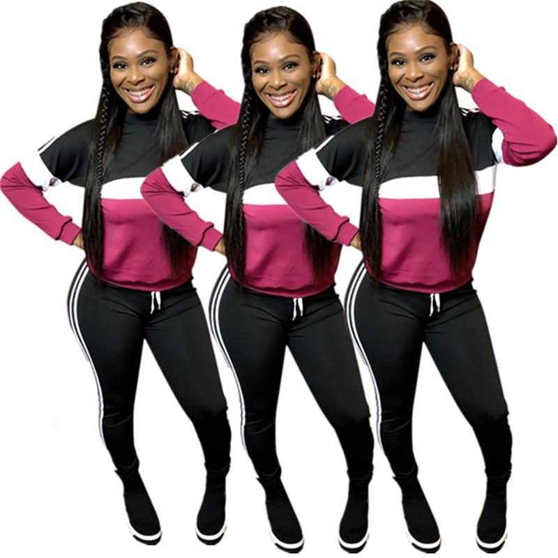2020 pantalons de concepteurs de concepteurs femmes rayures 2 pièces pantalons à manches longues manches à manches coulissantes pulls à col montant