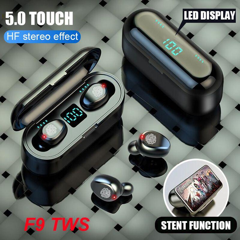 Auricular inalámbrico Bluetooth V5.0 F9 TWS Auriculares HIFI Estéreo Auriculares LED Pantalla Táctil Control Táctil 2000MAH Auriculares de banco de energía con micrófono