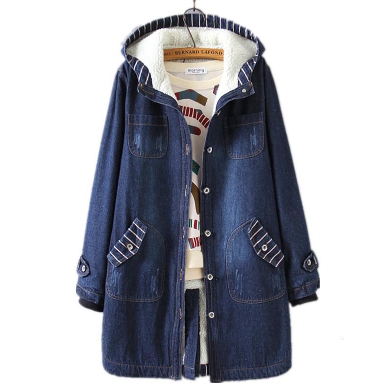 Denim para las mujeres abrigos de invierno cálido de invierno de tamaño de gran tamaño con capucha con capucha de moda coreana de ropa agregar lana B3895