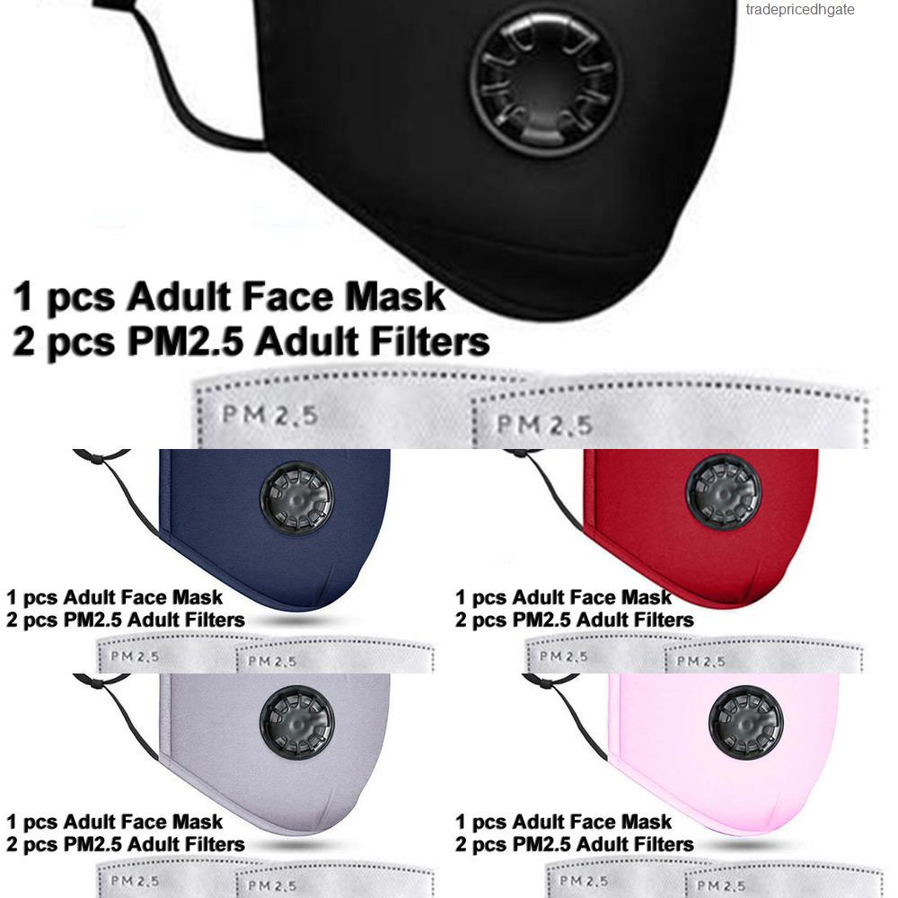 Lavable PM2.5 con máscaras reutilizables Cara Anti-polvo Máscara 2 Válvula de filtro Algodón protector CH 5XDZ 922E