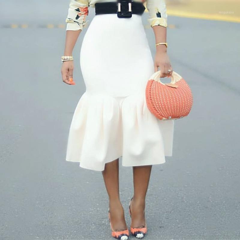 Белая юбка Bodycon высокая талия тонкие оборками пакет бедра герметичные классные женщины Saias Jupes Falads элегантные офисные работы в одежде 1 юбки