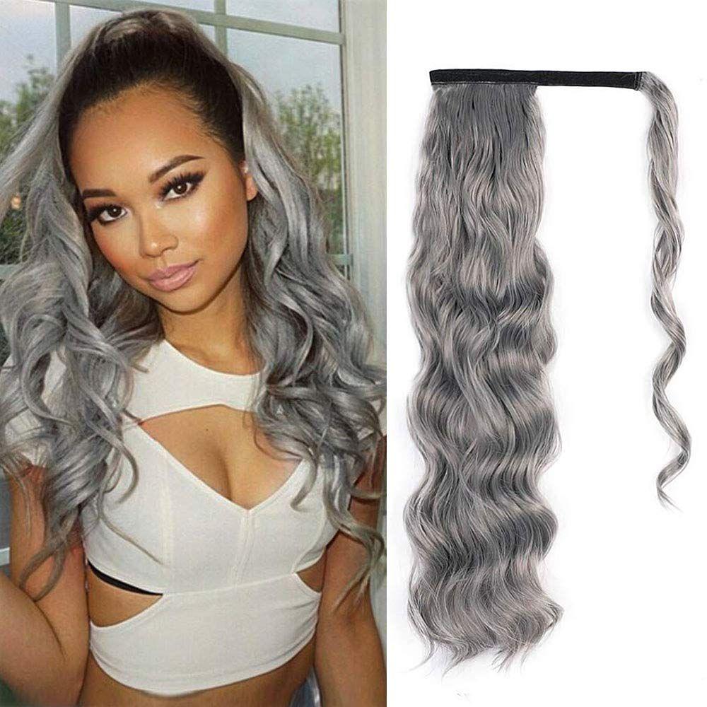 20-дюймовая длинная волна вьющиеся хвост удлинитель для волос человеческих волос вьющиеся волосы вьющиеся волнистые реальные волосы обертывают хвост черная волос для женщин (серебристый серый)