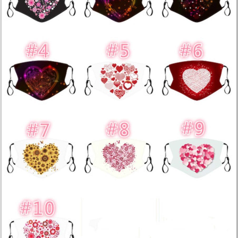 Máscara de San Valentín lavable Mascarilla Diseñador de moda Algodón 2021 Nuevo transpirable reutilizable reutilizable a prueba de polvo a prueba de adulto hombre mujer tela 01