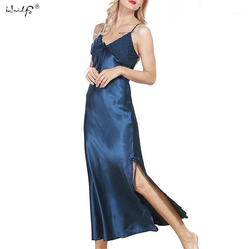 Mujeres Sexy Lencería Nightdress Plus Tamaño Lace Camisón Nightie Nightie Silk Satin Satin Largo Nightdress Gecelik Nightwear1