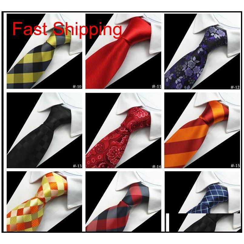 Tasarımcı Erkek Bağları 38 Tasarım Ipek Boyun Bağları Erkekler için 8 CM Ekose Çizgili Bağları Örgün Business WEDD QYLCMH HOMES2007