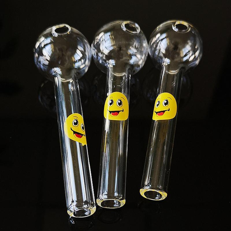 Atacado DHL Logotipo Logotipo Logo Colher de Vidro Clear Cor Vidro Pyrex Burner Pipes 4 polegadas Fumar Tubos Tobacoo Tool SW15