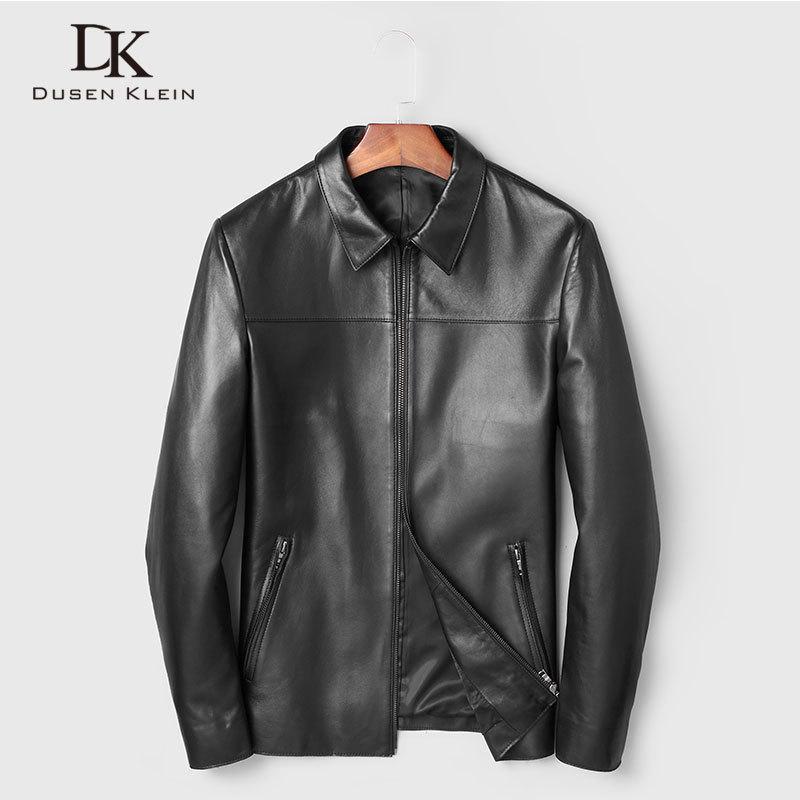 Мужская кожаная из искусственных мужчин Подлинная куртка Реальные овчины Куртки повседневный короткий черный стенд воротник кармана 2021 осень для человека 19C211F