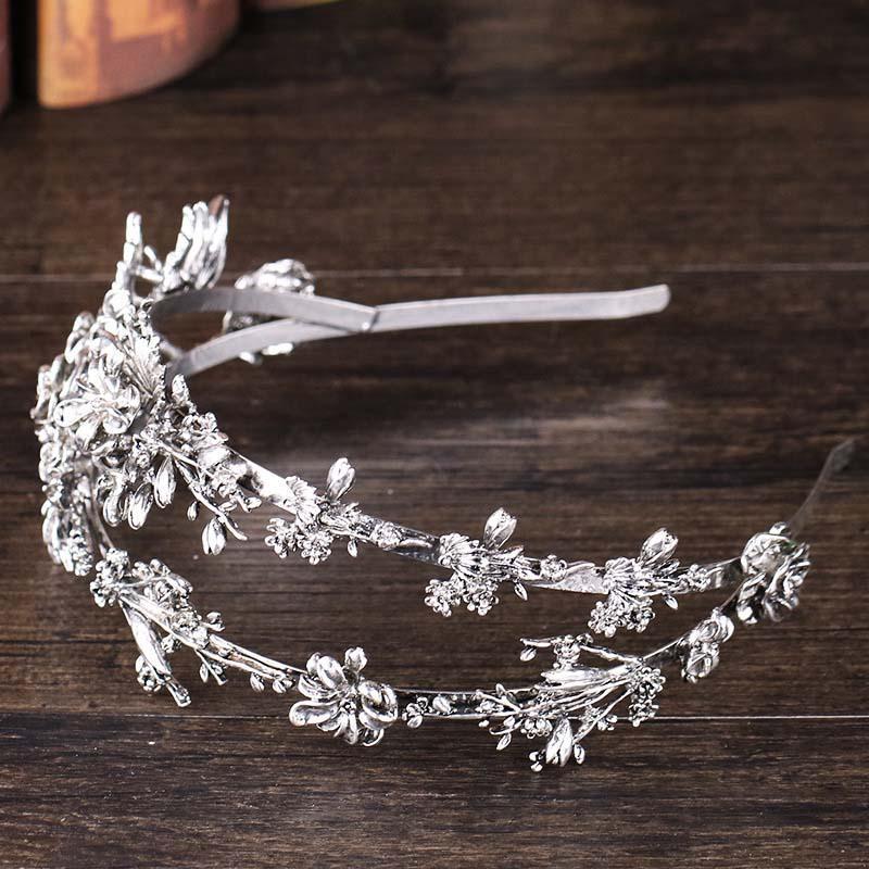Tiaras Crowns délicates bijoux de cheveux métalliques pour femmes vintage headpieces double couche bandeau floral accessoires de cheveux