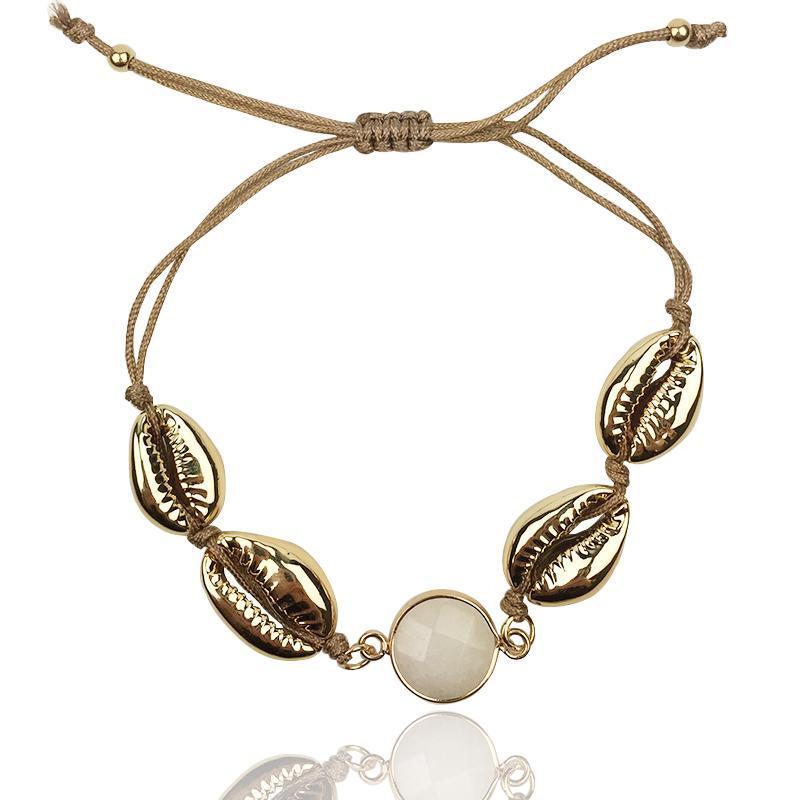 Charm Bilezikler Altın Renk Cowrie Seashell Kadınlar Için El Yapımı Halat Bilezik BOHO BFF Pulseras Mujer 2021 Trendy Takı Hediyeler