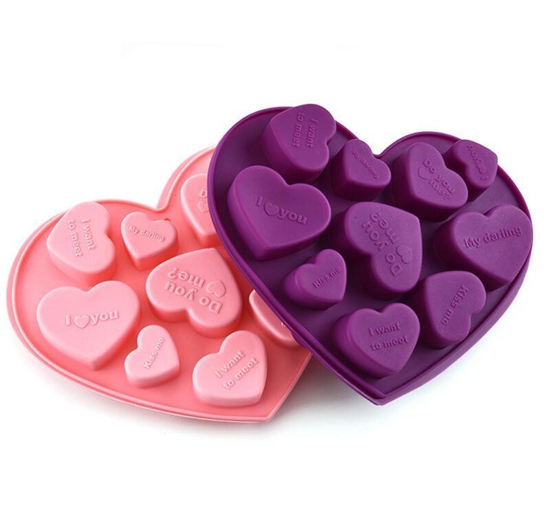 Stampi al cioccolato al silicio Forma di cuore Lettere Italiano Lettere Cake Chocolate Stampo in silicone Ice Vassoio Gelatina Stampi Sapone Cooking Stampo W112
