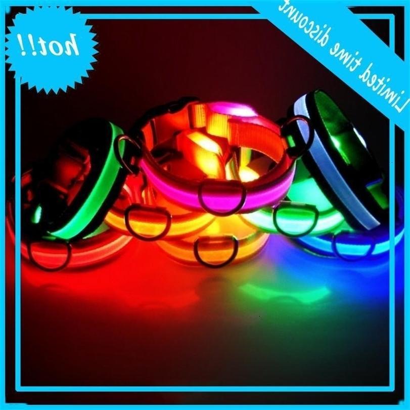 LED Nylon Collar Dog Cat Harness Lamped Light Up Night Safety Pet Collars Multi Color XS-XL Taglia Accessori per Natale