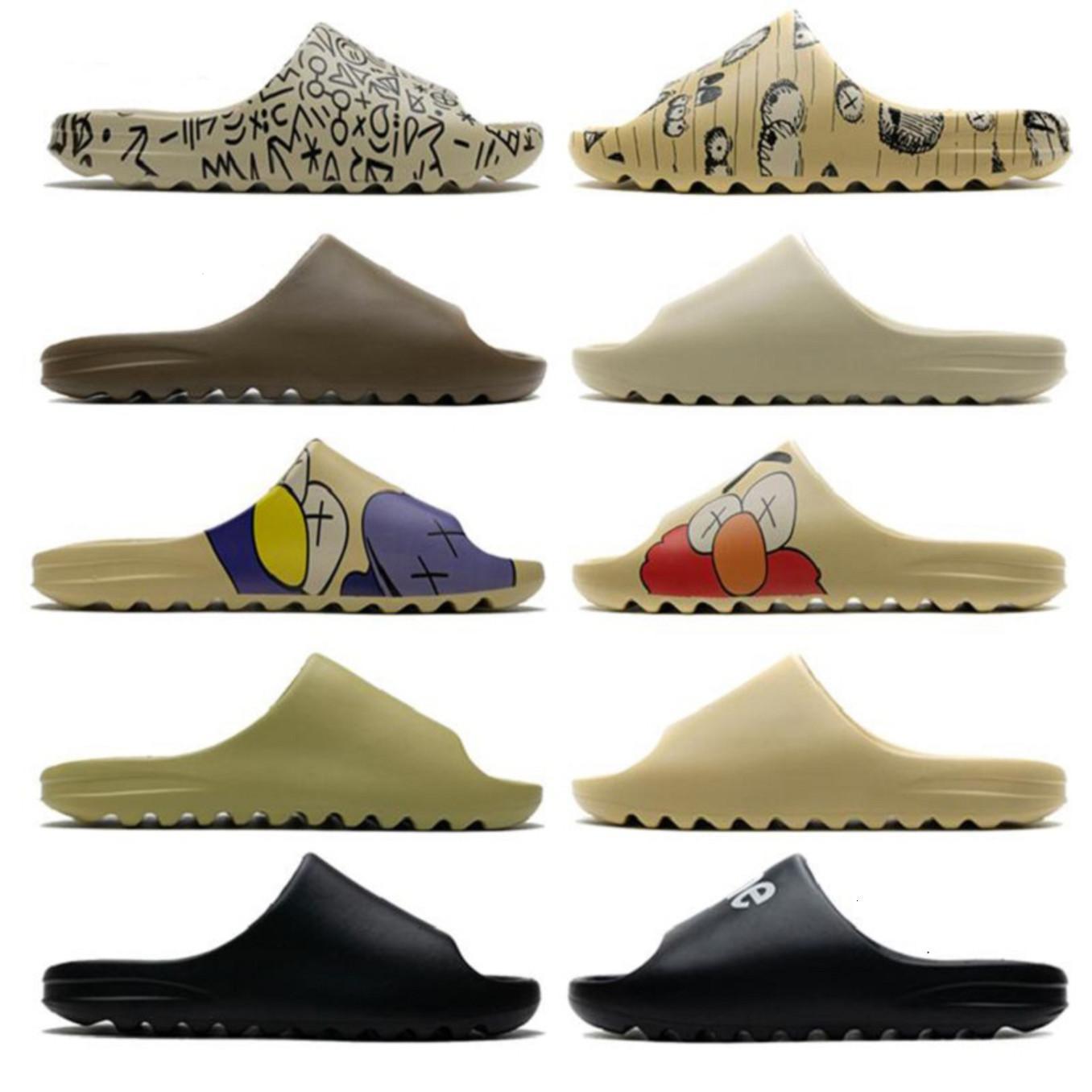 Hot 450 Пена бегун Kanye West Chool S Triple Черный слайд Мода Мужские резиновые тапочки женские тренеры на пляжных сандалиями Slip-на обувь 36-45